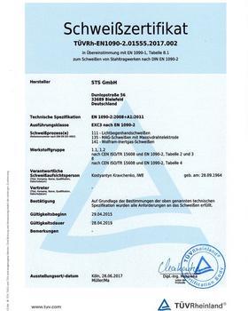 Schweißzertifikat TüVRh-EN1090-2.01555.2107.002